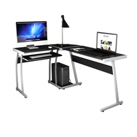 Large L Shaped Wood PC Desk Computer Desk Modern High Quality Black Computer Table with Slide out Keyboard Drawer HW55413