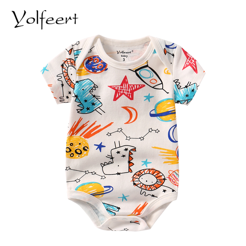 YOLFEERT 1pc Short Sleeve 3-18M Baby Bodysuit Newborn Baby Boy Summer Clothes Baby Body Bodysuits DR0219