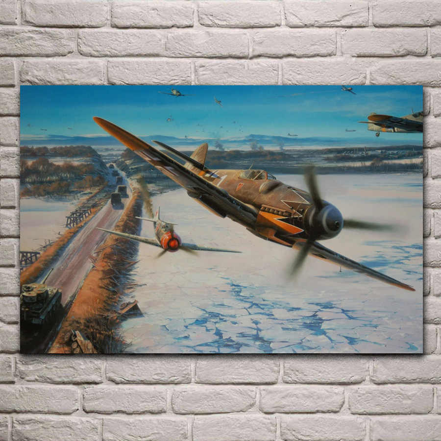 Air Battle Aircraft Artwork Ww2 Fighter Living Room Decoration Home Wall Art Decor Wood Frame Fabric Posters Kf816 Painting Calligraphy Aliexpress