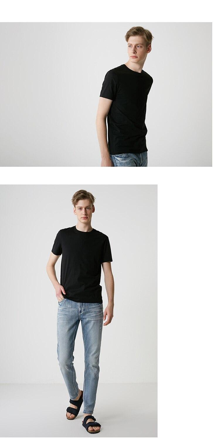 Men's Summer 100% Cotton Pure Color Round Neckline Short-sleeved T-shirt 50