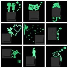 Luminous Cartoon Switch Sticker Glow in the Dark Cat Sticker Fluorescent Fairy Moon Stars Sticker Kid Room Decoration Home Decor