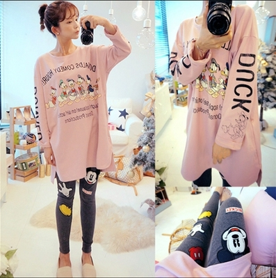 Cartoon dark pattern summer style pink big size T-shirt pregnant clothes cotton Pajama Sets maternity nightgown leisure wear