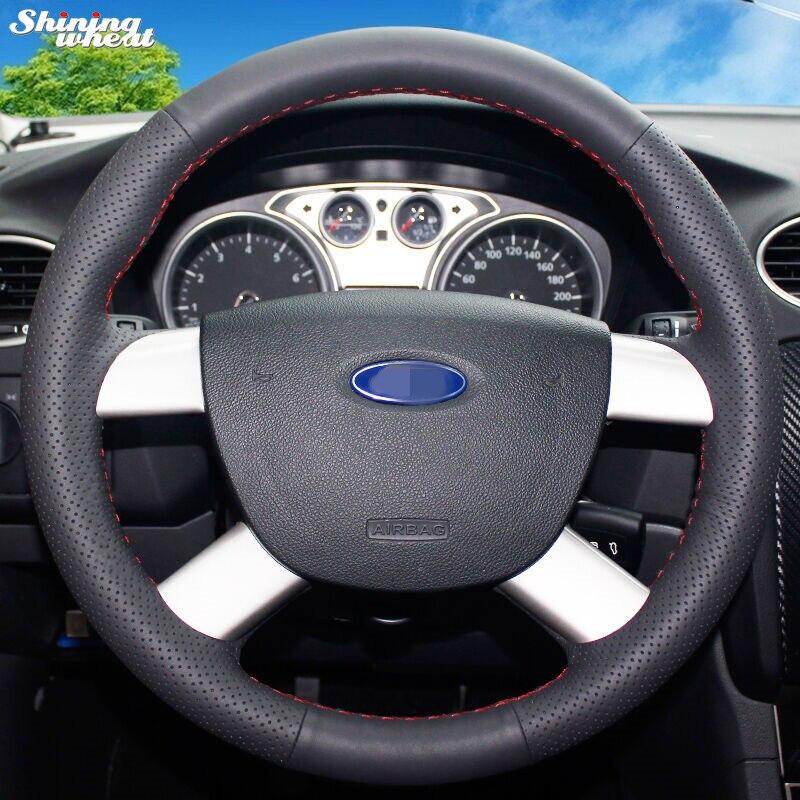 Glänzende weizen Hand genäht Schwarz Leder Auto Lenkrad Abdeckung für Ford Kuga 2008-2011 Focus 2