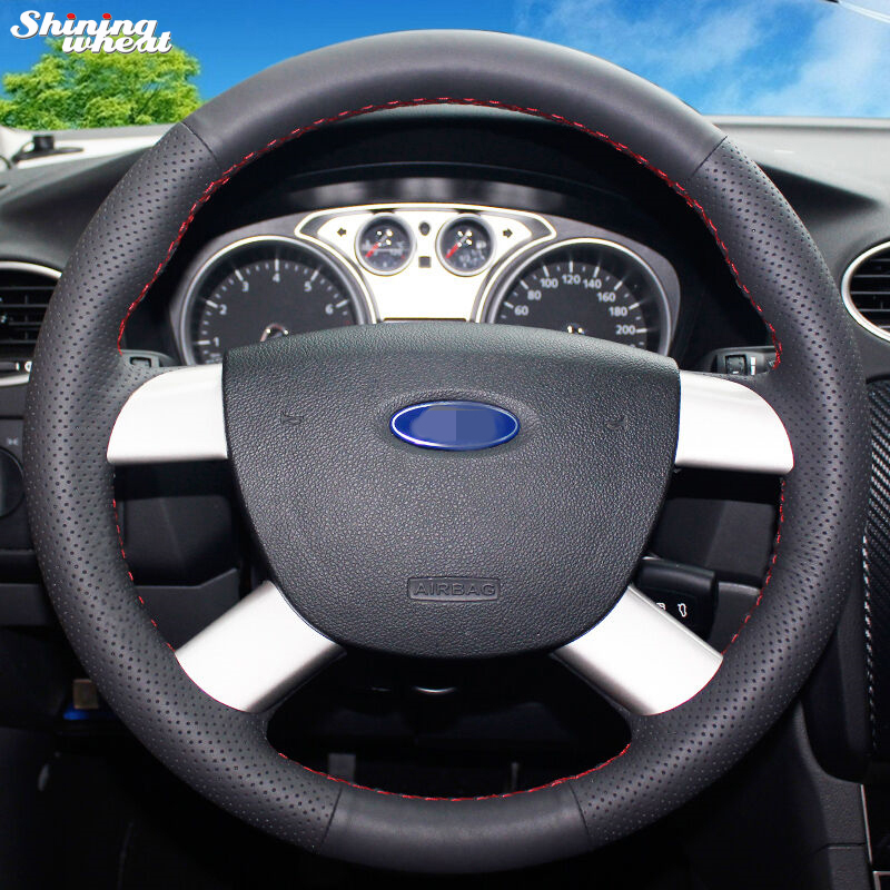 Shining wheat Hand-stitched Black Leather Car Steering Wheel Cover for Ford Kuga 2008-2011 Focus 2
