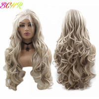 BCHR 28 Inch Long Wavy Synthetic Wigs Lace Front Wigs For White Women Milk Yellow Mixed Color Hand Tied Lace Wig For Party
