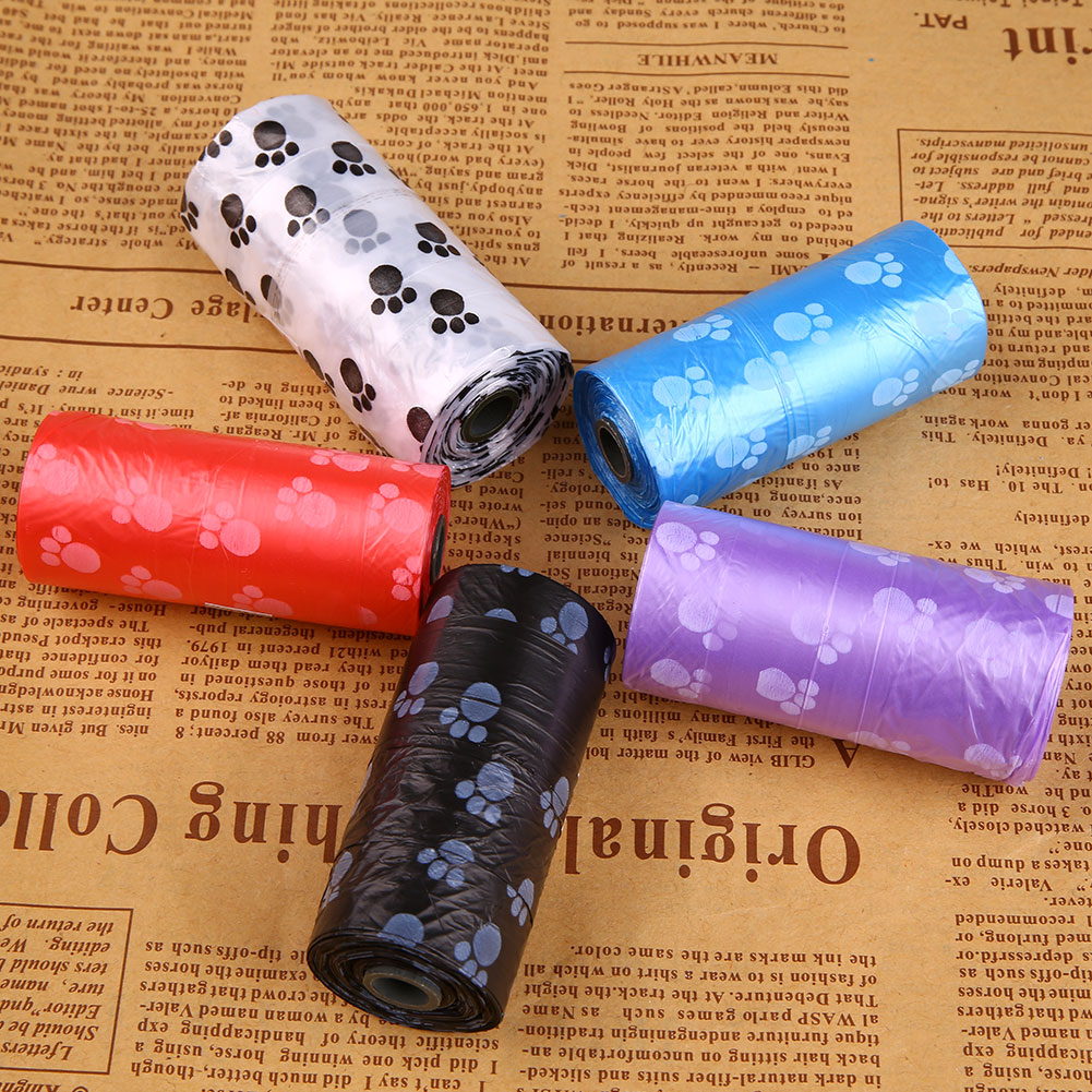 5 Rolls/75Pcs Dog Cat Waste Garbage Clean Poop Refill Bags Pick Up Pet Supplie