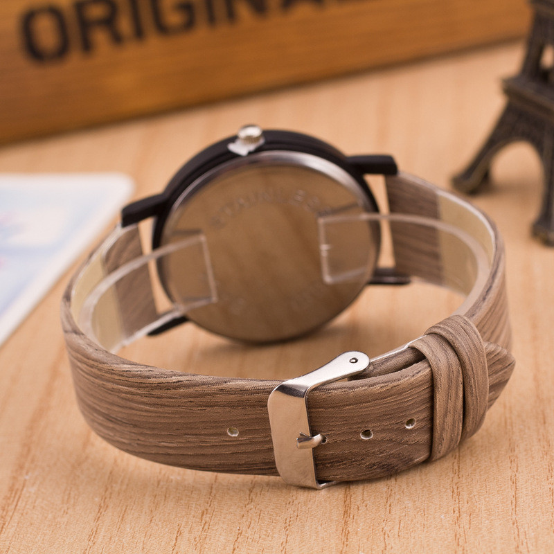 2018 top luxury brand mens PU Leather Band Wood Wrist Watches 18