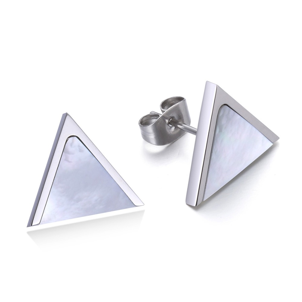Women Handmade Vintage Abalone Shell Stud Earrings Cool Mens Stainless  Steel Triangle Ear Jewelry Wedding Gift