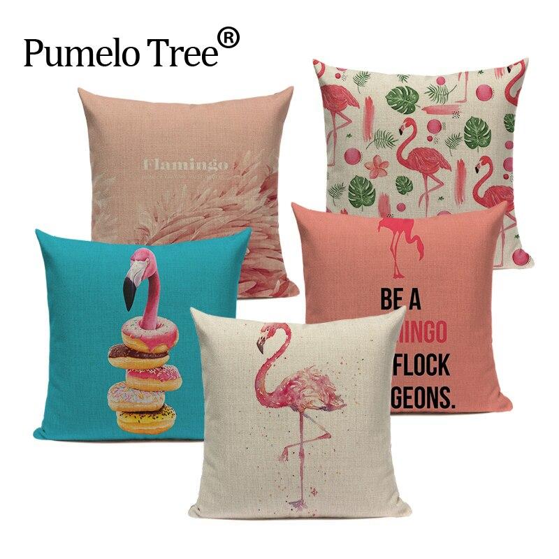 Zipper Top Quality Zipper flamencos Textile Red Flamingo Square Throw Pillow 45Cmx45Cm Square Sofa Printed Cushion Cover
