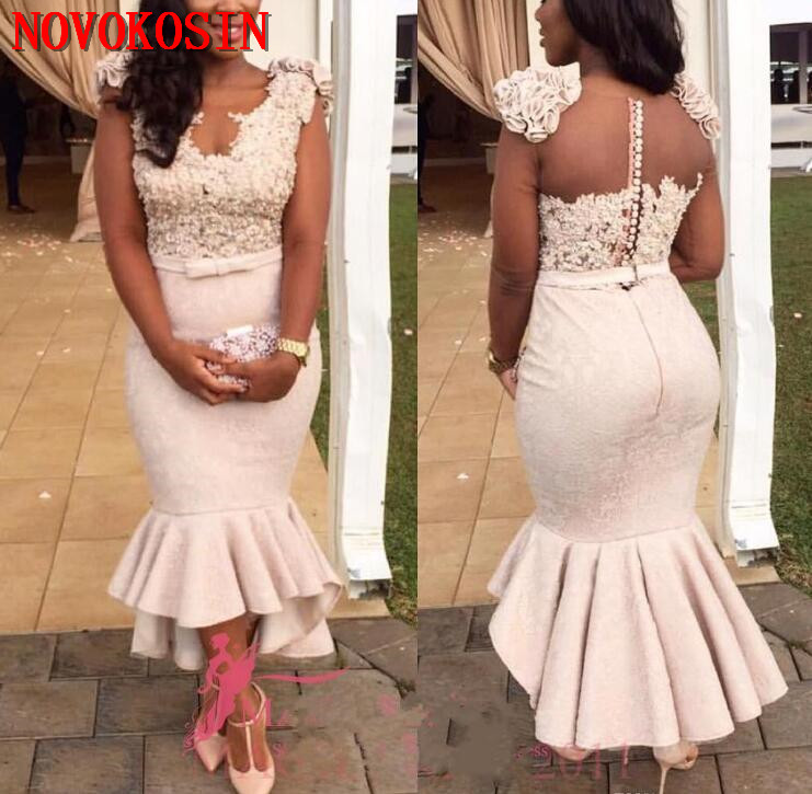 Modern Mermaid   Cocktail     Dress   2019 Lace Appliques Beaded Cap Sleeves Shoulder Flower Tier Ruffles Arabic V Neck Prom Party   Dress