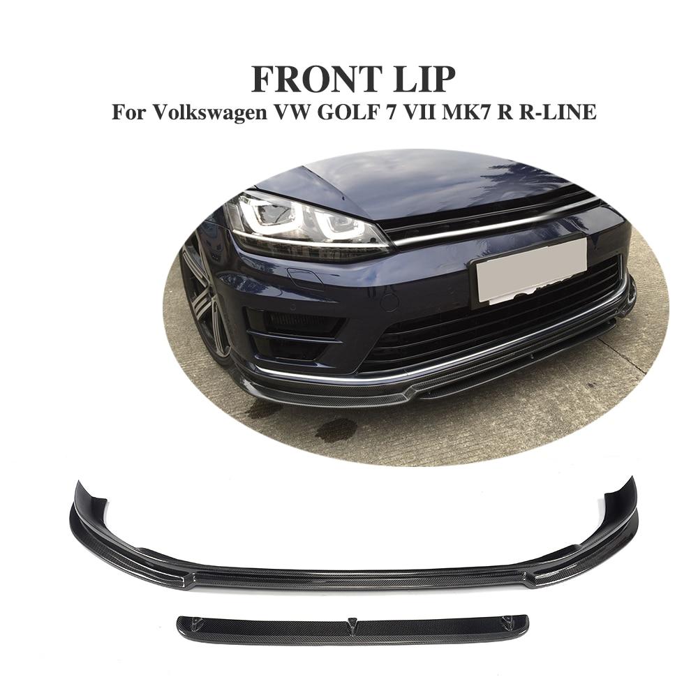 2PCS Carbon Fiber Front bumper lip Chin for Volkswagen VW GOLF 7 VII MK7 R R-LINE Hatchback 2014-2016 Car Styling