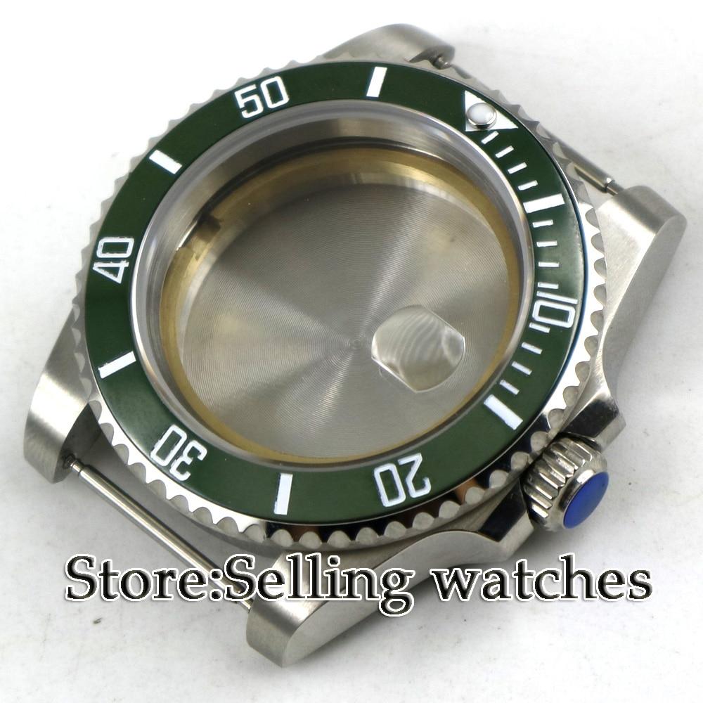 NEW 40mm Sapphire Glass Green Ceramic Bezel Watch Case Fit ETA 2836 Mingzhu 2813 Miyota  82 Series Movement
