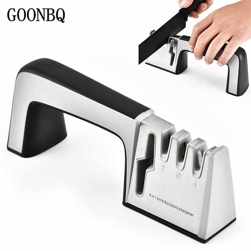 GOONBQ 1pc  4 in 1  Knife Sharpener Diamond Ceramics Sharpening Stone Knife Scissor Sharpener Kitchen Tools  Knife Clip