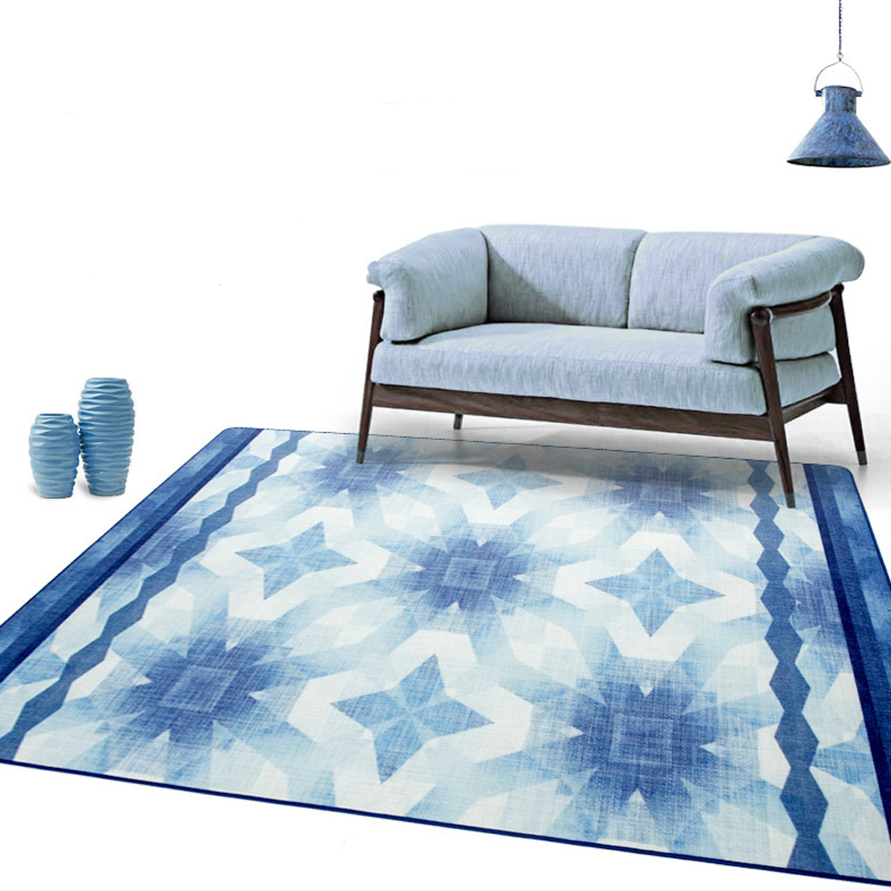 Geometric Starry Sky Blue Flora Arts Big Carpet Table Sofa Bed Side Floor Mats Living Room Bedroom Door Area Rugs Decorative ...