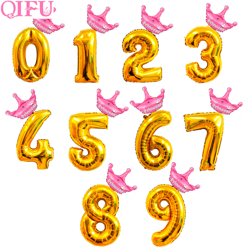 QIFU 32 Inch Gold Number Balloons Happy Birthday Balloon Crown Foil Decor 1 2 3 4 5 6 7 8 9 Year Party Supplies
