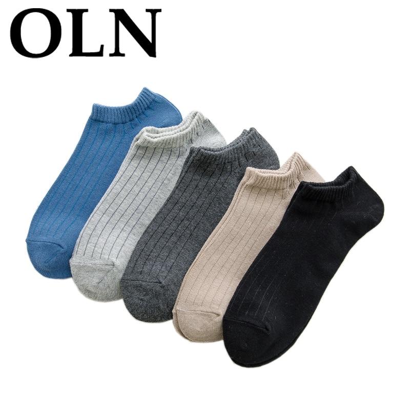 OLN 10 Pairs/ lot High Quality Mens Ankle Socks Bamboo Cotton Solid Low Cut Male Short Socks Soft Coolmax Socks Alien Dress