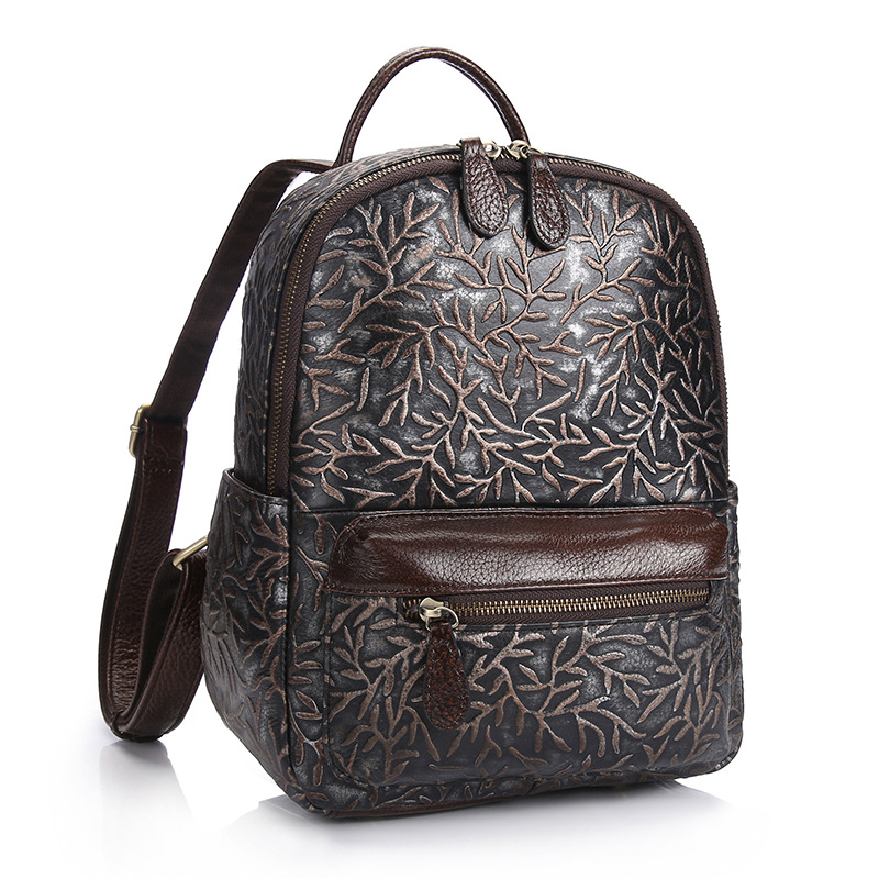 Women Backpack Genuine Leather Travel Bag For Teenagers Girl's School Bags High Quality Vintage Embossing Backpacks Mochilas zhierna brand women bow backpacks pu leather backpack travel casual bags high quality girls school bag for teenagers