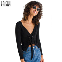 LAISIYI Sexy V Neck T Shirt Women Tops Femme Slim Autumn Long Sleeve Lace Up T