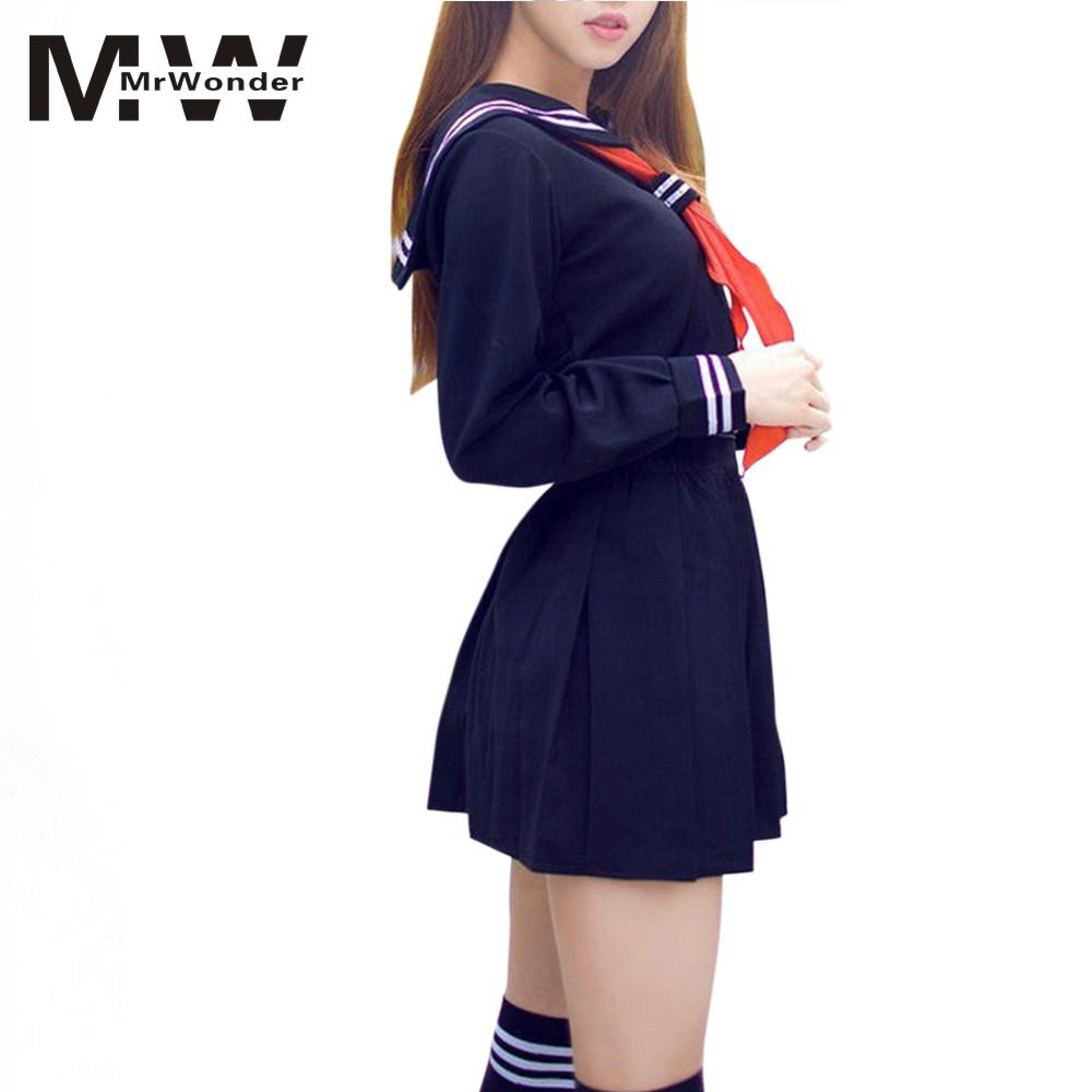 mrwonder Women Sexy Costumes Shcool Girl Lingerie Student Uniform Set RolePlay Foreplay Sex Clothes Dress And Tie Mini DressSAN0