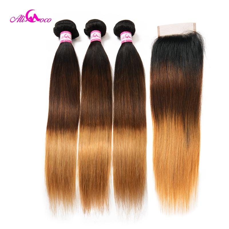 Brazilian Straight Hair Weave 2 3 4 Bundles With Closure 1B 4 27 Human Hair Bundles