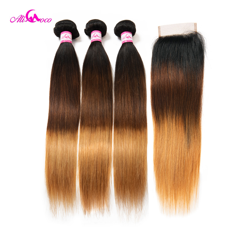 Brazilian Straight Hair Weave 2/3/4 Bundles With Closure 1B/4/27 Human Hair Bundles With Closure 8-30 Inch Remy Hair Extension