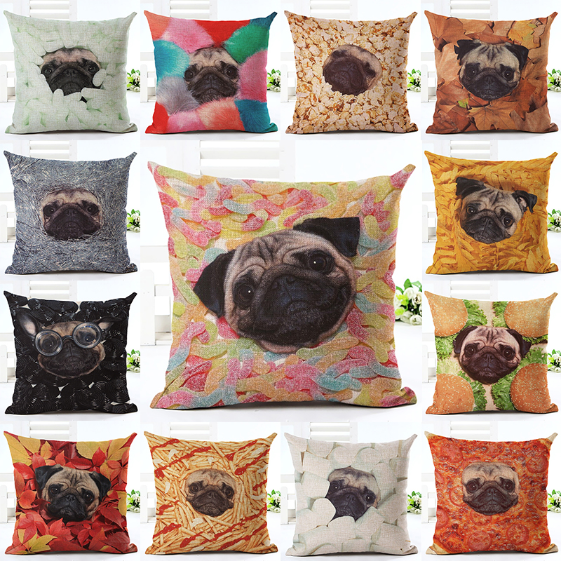Hot Newest Home Candy Pug Decor Cushion Cover Creative Home Landscape Printed Throw Pillow Case Cojines Almofada