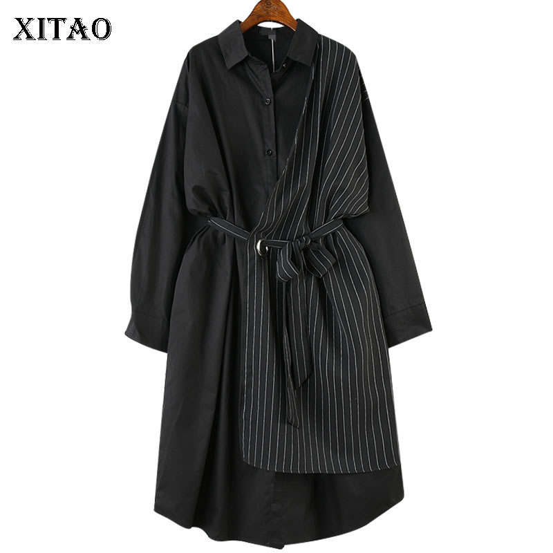 XITAO Stripe Bandage Midi Dress Plus Size Women Patchwork Hit Color Casual Dress Elegant Long Sleeve New Summer CXB1320