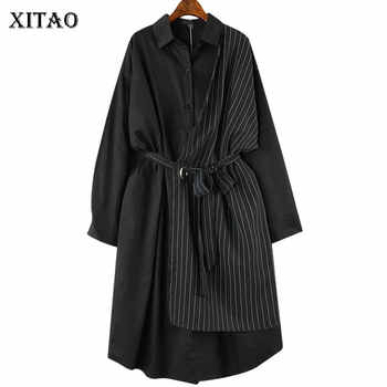 XITAO Stripe Bandage Midi Dress Plus Size Women Patchwork Hit Color Casual Dress Elegant Long Sleeve New Summer CXB1320 - DISCOUNT ITEM  36% OFF All Category