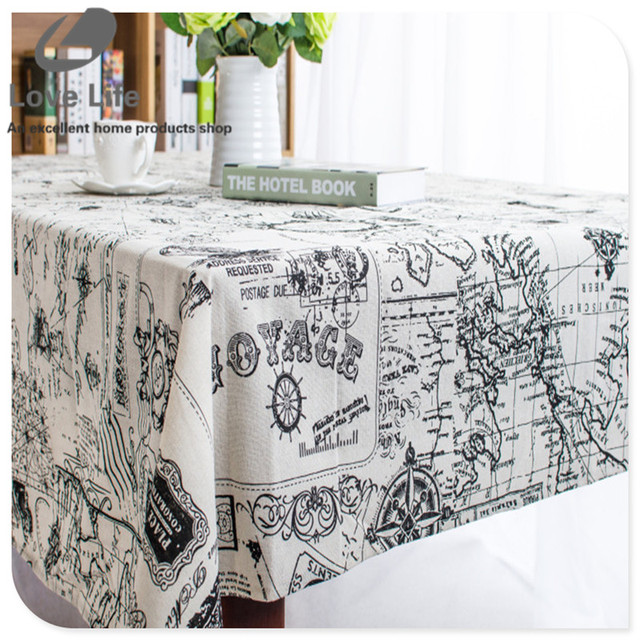 Cotton linen tablecloth dining table cloth cover desk towels high cotton linen tablecloth dining table cloth cover desk towels high quality world map print table cloths gumiabroncs Images