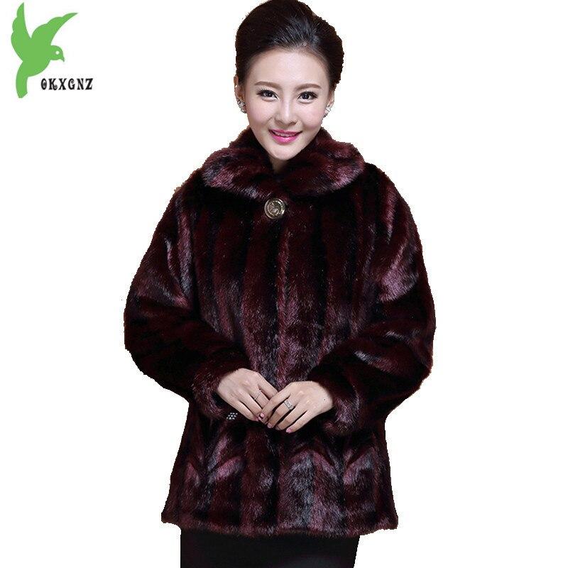 New Middle aged font b Women b font Winter Imitation Mink Fur Coat Plus Size Fashion