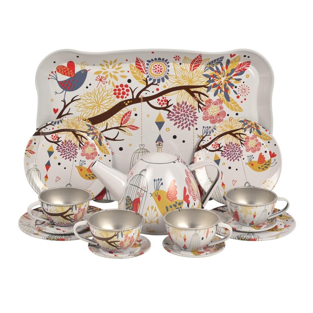 BOHS Metal Tea Set Tray Miniature, Koala Pretend Play Toys,15 Pcs