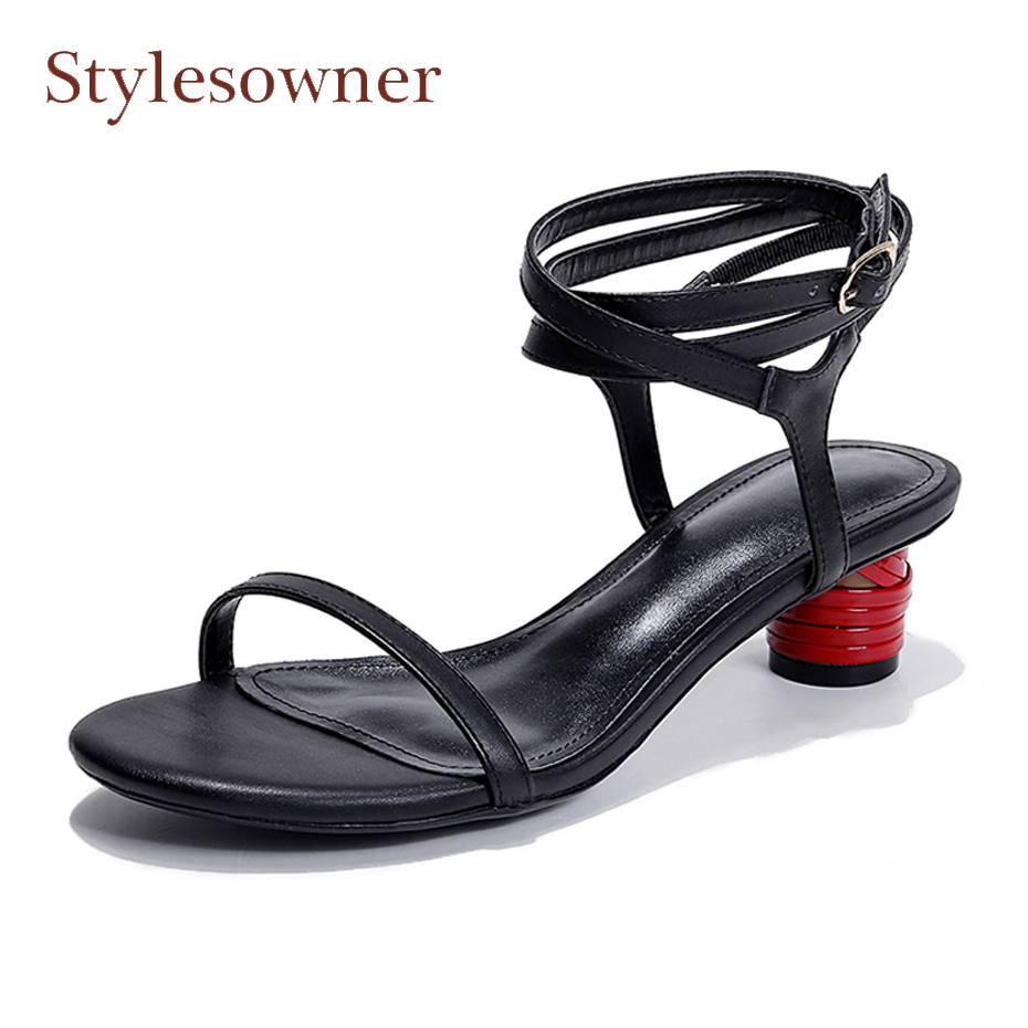 Stylesowner women sandals ankle cross tied buckle strap rome style narrow sandals red round heels open toe causal summer shoes
