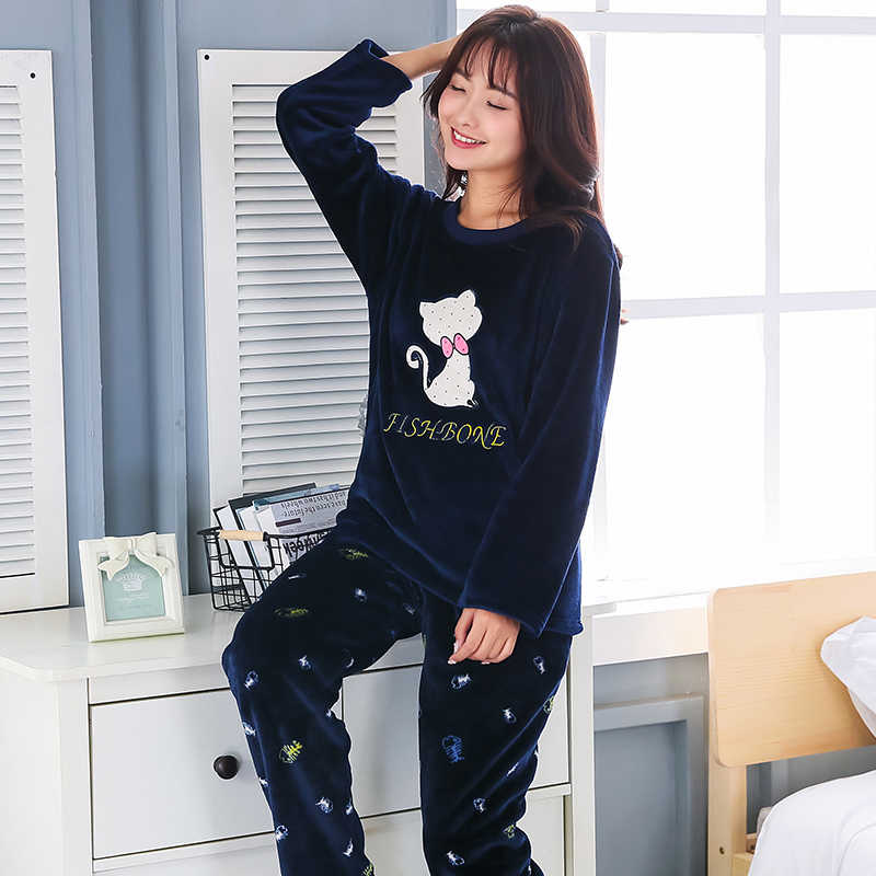 2018 Plus Size 3XL 4XL 5XL Warm Flannel Pajamas for Women Full Length Ladies  Thicken Pyjama 29feb71aa