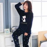 2018 Plus Size 3XL 4XL 5XL Warm Flannel Pajamas for Women Full Length Ladies Thicken Pyjama Set 80 Kg 90 Kg Can Wear Sleepwear