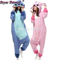 Super Natural Women Men Adult Winter Animal SAZAC Blue Pink Stitch Kigurums Pajamas Onesie Cosplay Costume