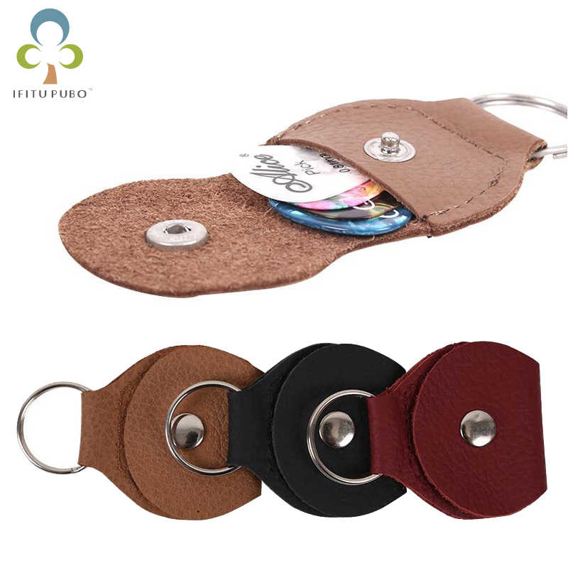 1Pc Genuine Leather Electric Guitar Pick Holder Case Bag Black and Brown 5 Color Guitar Parts Accessories High Quality GYH