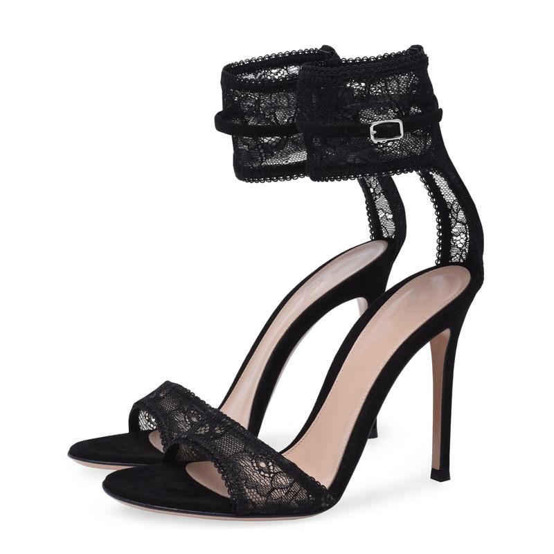 Designer Mesh Lace Ankle Strap Women Sandals Super High Heel Cut out Black Summer Dress Shoes Women Pumps Shoes TL A0067 in High Heels from Shoes