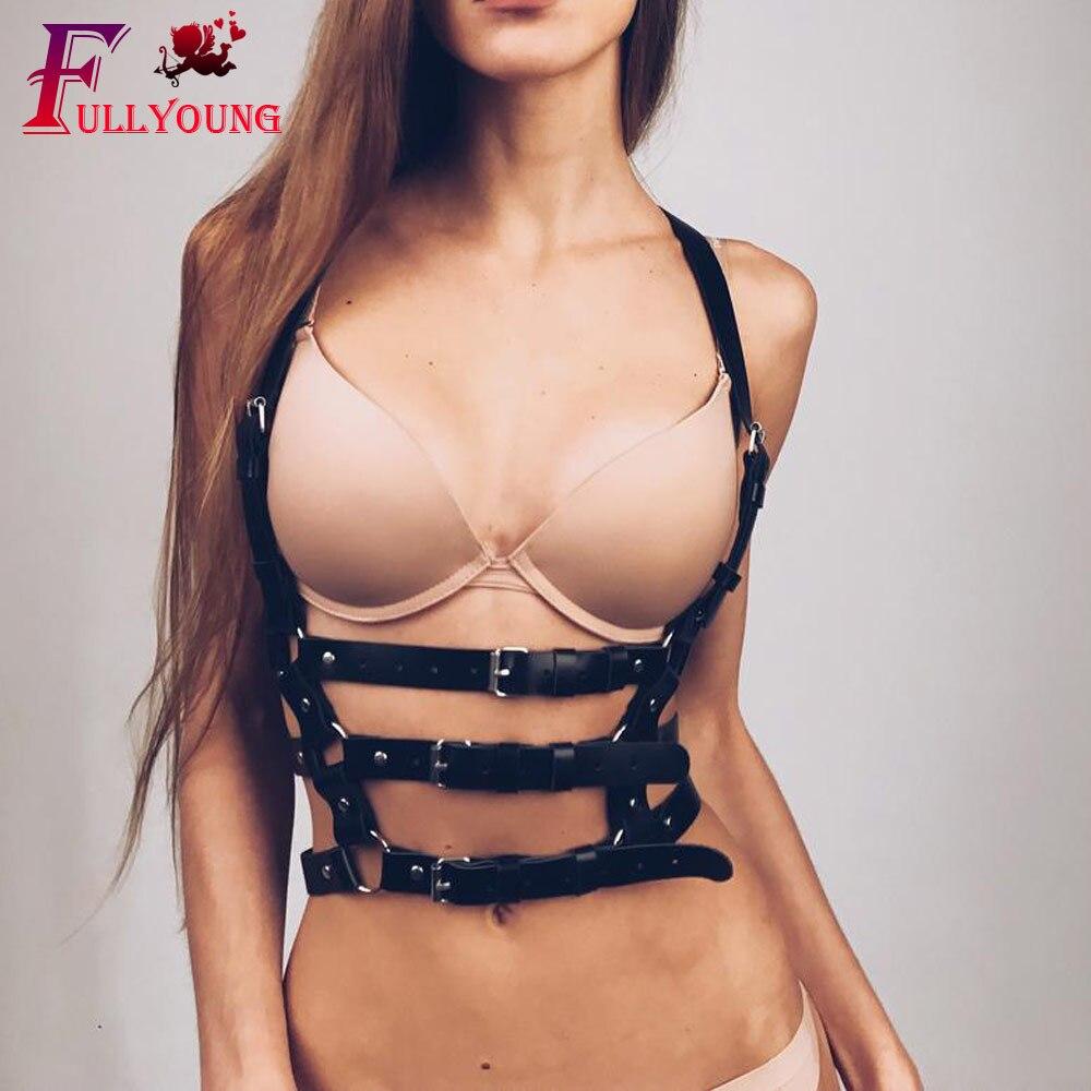 Fullyoung HARNESS 2Pcs Set Sexy Waist Leather Harness Set Garter Women Sexy Body Cage Waist To Leg Bondage Chest Belt For Women in Garters from Underwear Sleepwears