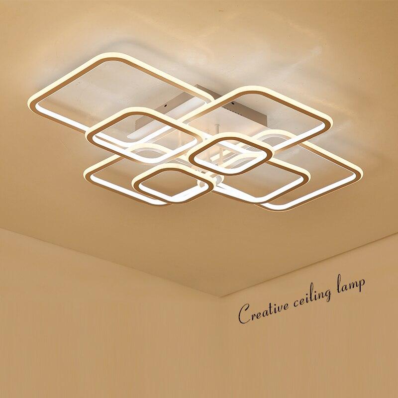 Double Lueur Haute Luminosité led moderne Lustre pour salon chambre Carré Cercle Anneaux avize Plafond Lustre Luminaires