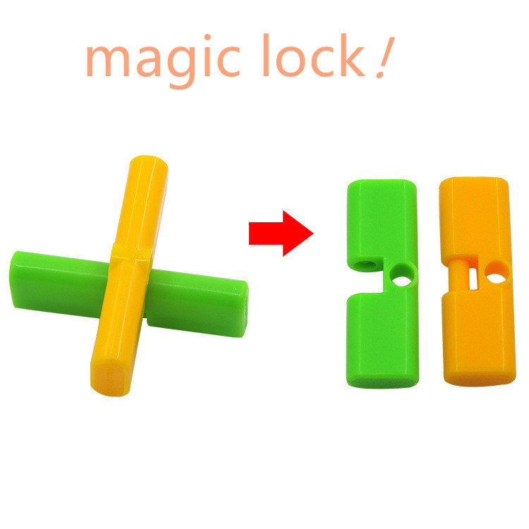 1pc Magic Trick Props Magical Cross Interesting Lock Automatically Unlock Close-up Stage Performance Toy