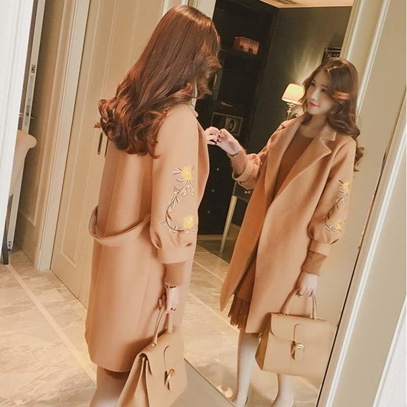 Herbst Elegante Bandage Taille Mäntel Frauen Stickerei Laterne Hülse Drehen unten Kragen Jacken Weibliche Warme Jacke Abrigos Casacos