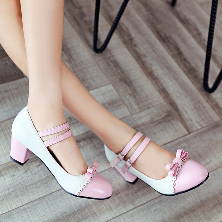 Image 5 - Big Size 11 12 ladies high heels women shoes woman pumps Button tied single shoe with round head and color matchingWomens Pumps   -