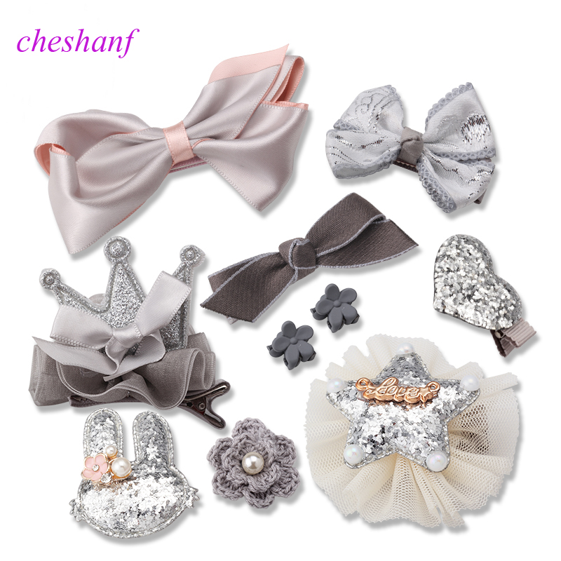 10Pcs Cute Crown Bowknot Kind Hairpin Set Flower Star Girls HairClip Hair Accessories Headwear Headband Hairgrip New