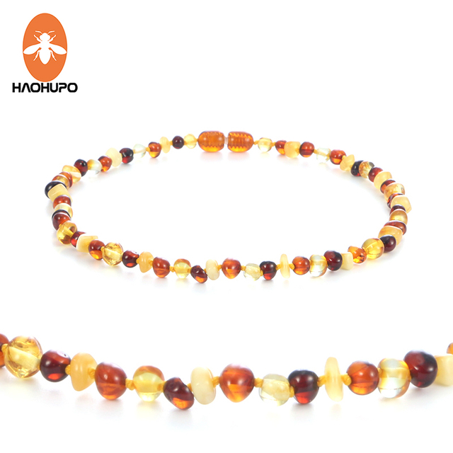 HAOHUPO Multi color Amber Teething Necklace for Baby Women Baltic Polished Amber