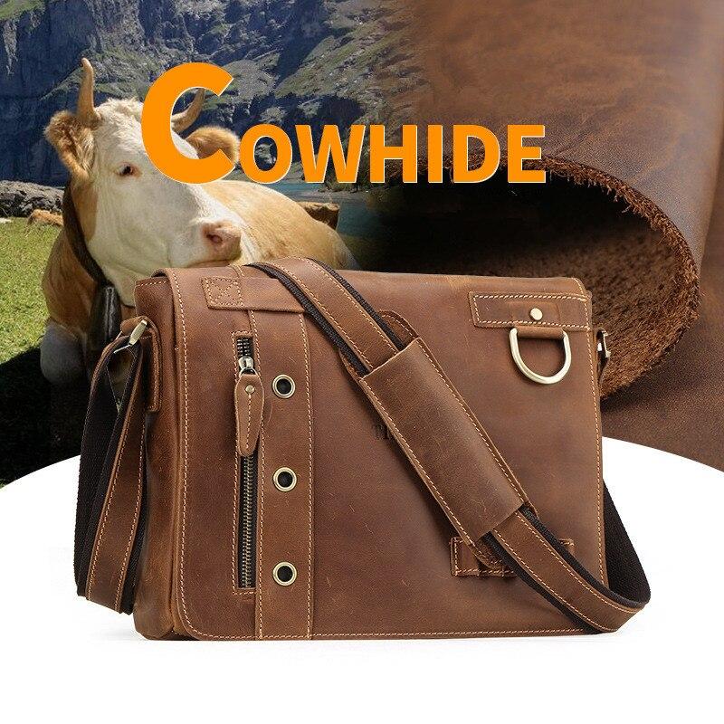 Soft Satchel Laptop Designer Lässig brown Feste Brown Zoll Leder Mens Dark Schultertaschen Cover 1006 Brown 13 Bag Tiding Messenger Echtem S7nqWBB