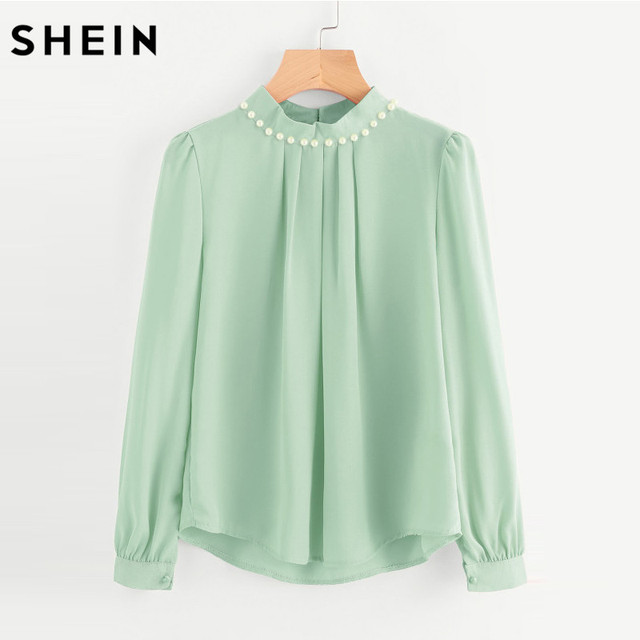 SHEIN Green Women Chiffon Blouse Long Flare Sleeve High Neck Female Tops and Blouses  Autumn Winter Pearl Beaded Blouse