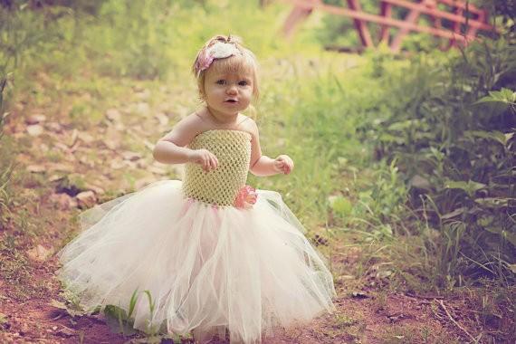 Ivory and Pink Flower Girl Wedding Tutu Dress