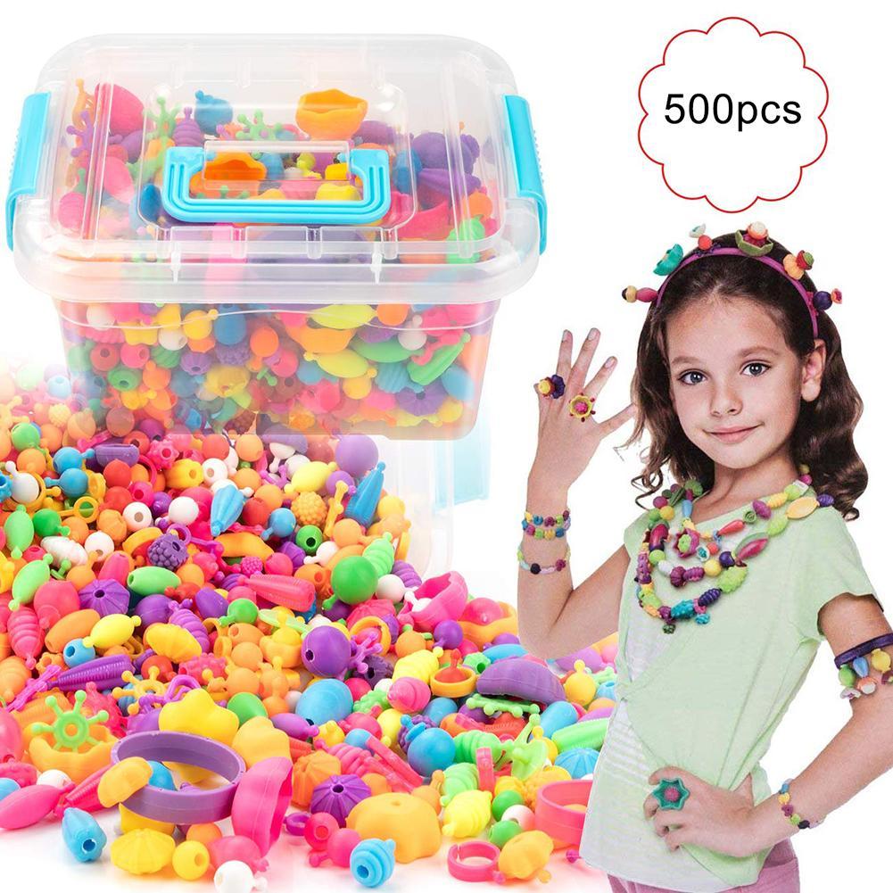500Pcs Pop Snap Beads Kit  Reusable DIY Necklace Bracelet Ring Toddler Kids Toy