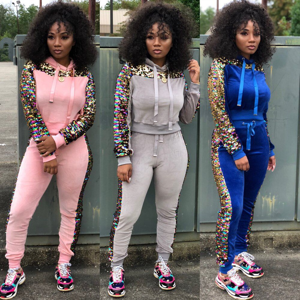 Autumn Winter Women Two Piece Set Velvet Side Sequin Tops and Pant Suit Casual Outfits 2 Piece Matching Sets Velour Tracksuits in Women 39 s Sets from Women 39 s Clothing