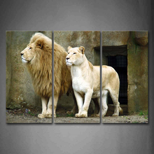 3 panels Painting Hot Sell Wall Animal two  lions Paint On Canvas Prints Home Decorative Art Picture